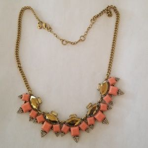 Coral and gold stone necklace